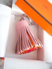 Hermes NEW Carmen Leather Tricolor Key Ring Charm Bag Rose Sakura Pink Red