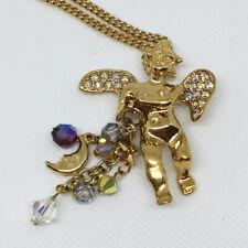 Kirks Folly 1990s Gold Tone Aurora Borealis Rhinestone Long Cherub Necklace