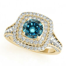 1.83 Cts Blue-White Sparkling Diamonds 14k Yellow Gold Engagement Ring Best Deal