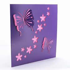 Viola Laser Cut Card con farfalle-Compleanno, MOTHER'S DAY, wedding
