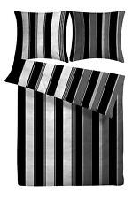 Bettwäsche 200 x 200 Schwarz Weiß Grau Sommer Seersucker 3tlg Baumwoll Bügelfrei