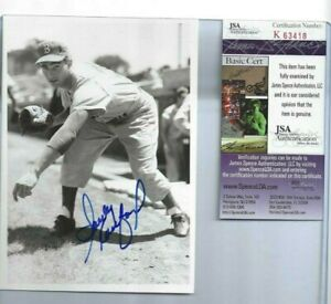Sandy Koufax Brooklyn Dodgers Autographed Baseball 5x7 Brace Photo JSA Rookie