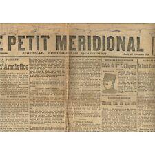 Le PETIT MÉRIDIONAL Lunel Cette Lodève Montpellier Général d'Espèrey 28 Nov 1918