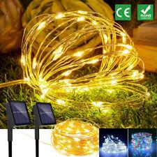 100 200 LED Solar Lichterkette Kupferdraht Beleuchtung Garten Party Deko Außen