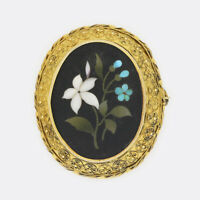 Antique Gold Brooch- Victorian Pietra Dura Brooch 15ct Yellow Gold