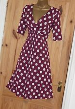 Phase Eight stretchy wine cream polka dot spotty jersey party tea dress size 14