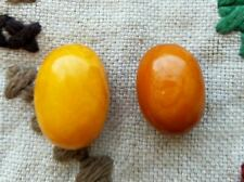 Amber baltic Antique natural old egg yolk rare 2 beads   8.8gramm bernstein
