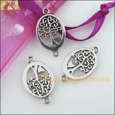 8 New Charms Oval Tree Heart Tibetan Silver Tone Pendants Connectors 13x23mm