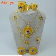 Necklace Fashion Anniyo Ethiopian Gold Color Jewelry Set Blue Stone Habesha