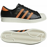 Adidas Originals Superstar 80S Og Baskets Noir Orange Baskets Rétro Neuf