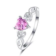 Fashion Heart Women Rainbow White Pink Topaz Gemstone Silver 925 Ring Size 6-9