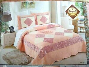 New Jackie-1 Queen Velvet Bedspread - 3 piece Bedspread Set - FREE SHIPPING