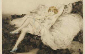 "5x7 Print -  Louis Icart etching, ""White Underwear,"" Art Deco circa 1925"