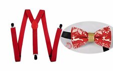 MEN WOMEN RED 25mm Braces Suspenders Xmas Christmas DEER ELK Bow Tie BOWTIE