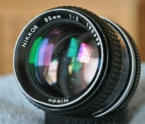Vtg Nikon 85mm f/2 Prime Manual Ai FILM Lens READ FULL Descrp As-Is Cpl Issues