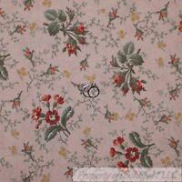 BonEful Fabric FQ Cotton Quilt VTG Pink Rose Gold Flower Garden Cottage Antique