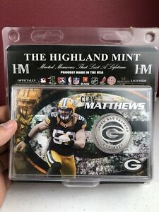 The Highland Mint Green Bay Packers Clay Matthews #52 Silver Plated Medallion