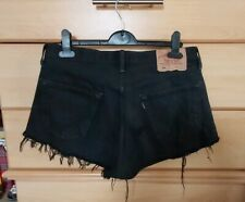 Levi Vintage High Waisted Distressed Black Ripped Denim Shorts W34 UK 12