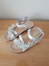 Ladies Summer Sandals With Diamanté Details In Silver Colour Size 3-8