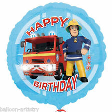 "18"" Blue FIREMAN SAM Happy Birthday Children's Party Round Foil Balloon"