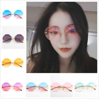 Fashion Womens polygon Sunglasses Metal Frame Retro Gradual change colour Lens