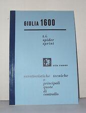 Manuale Officina Alfa Romeo Giulia 1600 TI Giulia Sprint, Spider workshop manual