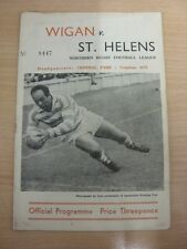 31/03/1961 Rugby League Programme: Wigan v St Helens  (Folded). Thanks for takin