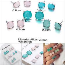 5 Pairs/Set Classic Crystal Geometry Earrings Womens Stud Ear Earrings Jewel NEW