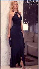 Lipsy Size 8 Halter Neck Frill Skirt Maxi Dress - Navy Blue, Crochet Lace prom