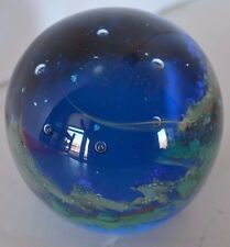 Vintage Ocean Blue Bubble Paperweight Art Glass Controlled Bubbles