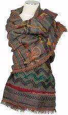 Schal Wolle Baumwolle Grau Orange Rot Groß 100 x 200 wool cotton scarf