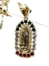 """Virgen de Guadalupe Medalla Pendant Necklace Piedras Color 26"""" Cadena Oro Lamina"""