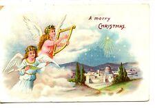 Angels Sing-Play Music-Harp-Bethlehem-Merry Christmas Holiday Greeting Postcard