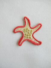 """#4218 1-1/2""""x1-3/4"""" Red Starfish Embroidery Iron On Applique Patch"""