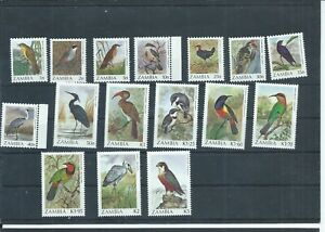 Zambia stamps.  A range of the 1987 Birds to 5k MNH plus  (M016)