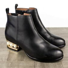Jeffrey Campbell Orlando Black Leather Ankle Boots SIZE 8.5