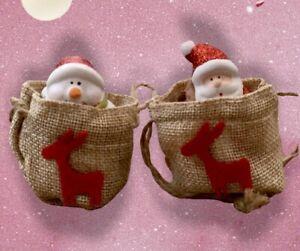 Set of 2 Christmas Trinkets In Hessian Sacks Santa & Snowman Small Ornaments New
