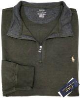 NEW $98 Polo Ralph Lauren Long Sleeve Green Heather 1/4 Zip Sweater Mens NWT