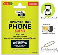 Straight Talk AT&T BYOP 3in1 Standard/Micro/Nano SIM Card Kit 4G LTE GSM