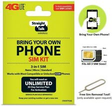 Straight Talk At&T Byop/Kyop 3in1 Standard/Micro/Nano Sim Card Kit 4G Lte Gsm
