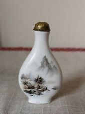 Antique Eastern Oriental Tear Drop Snuff Bottle With gilt Lid - mountain, river