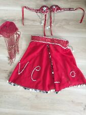 Girls Red Beaded Belly Dancing Costume Age 7-10 Years