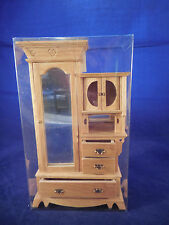 BLOND WOOD ARMOIRE WITH MIRROR DOLLHOUSE FURNITURE 1/12