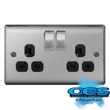 BG Nexus Brushed Steel Double Socket 2 Gang 13a Switched Black Inserts NBS22B