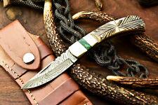 Custom Handmade Damascus Steel Back-Lock Pocket | Folding Knife | Camel Bone