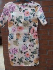 Pale Pink Floral Fitted Dress Size 12 Papaya 1950's Style Knee Length