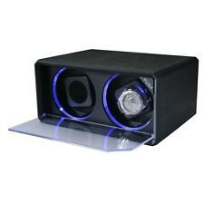 Diplomat Automatic Double Dual Watch Winder Box Tower with LED Black Leather New