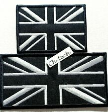 Embroidered Union Jack British Patch Iron On/ Sew On Black UK Flag Badge 2 sizes