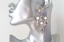 Funky silver tone & white bead cross & skull design drop earrings, * NEW *