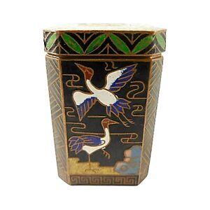 """Antique Cranes Snuff Box Canister Cloisonné Enamel Jar Black 2.25"""""""